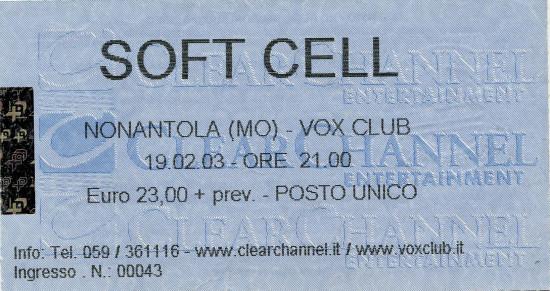 02.Soft Cell (19.02.2003, Nonantola (MO), Vox Club)