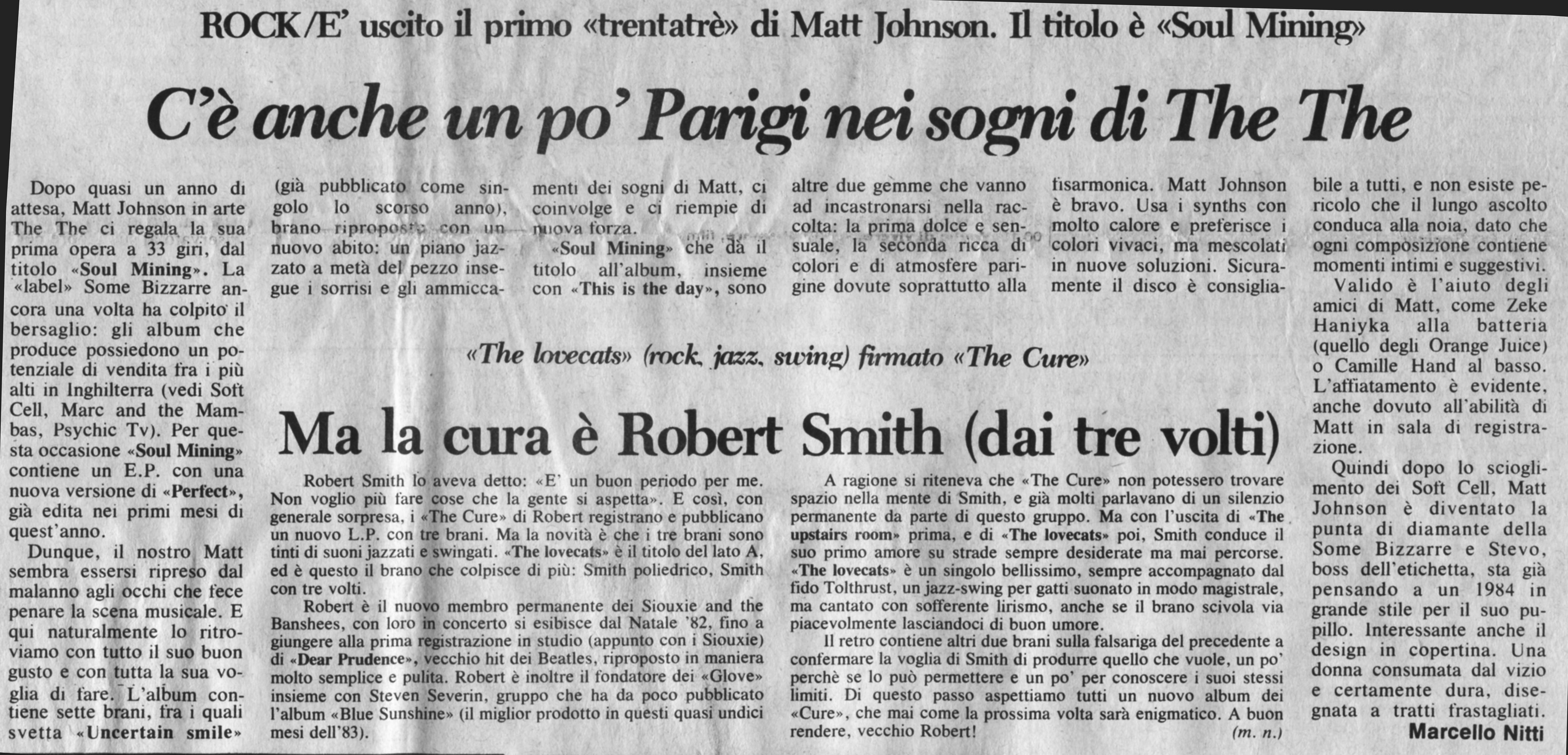 17.11.1983. Un po' di Parigi nei sogni di The The