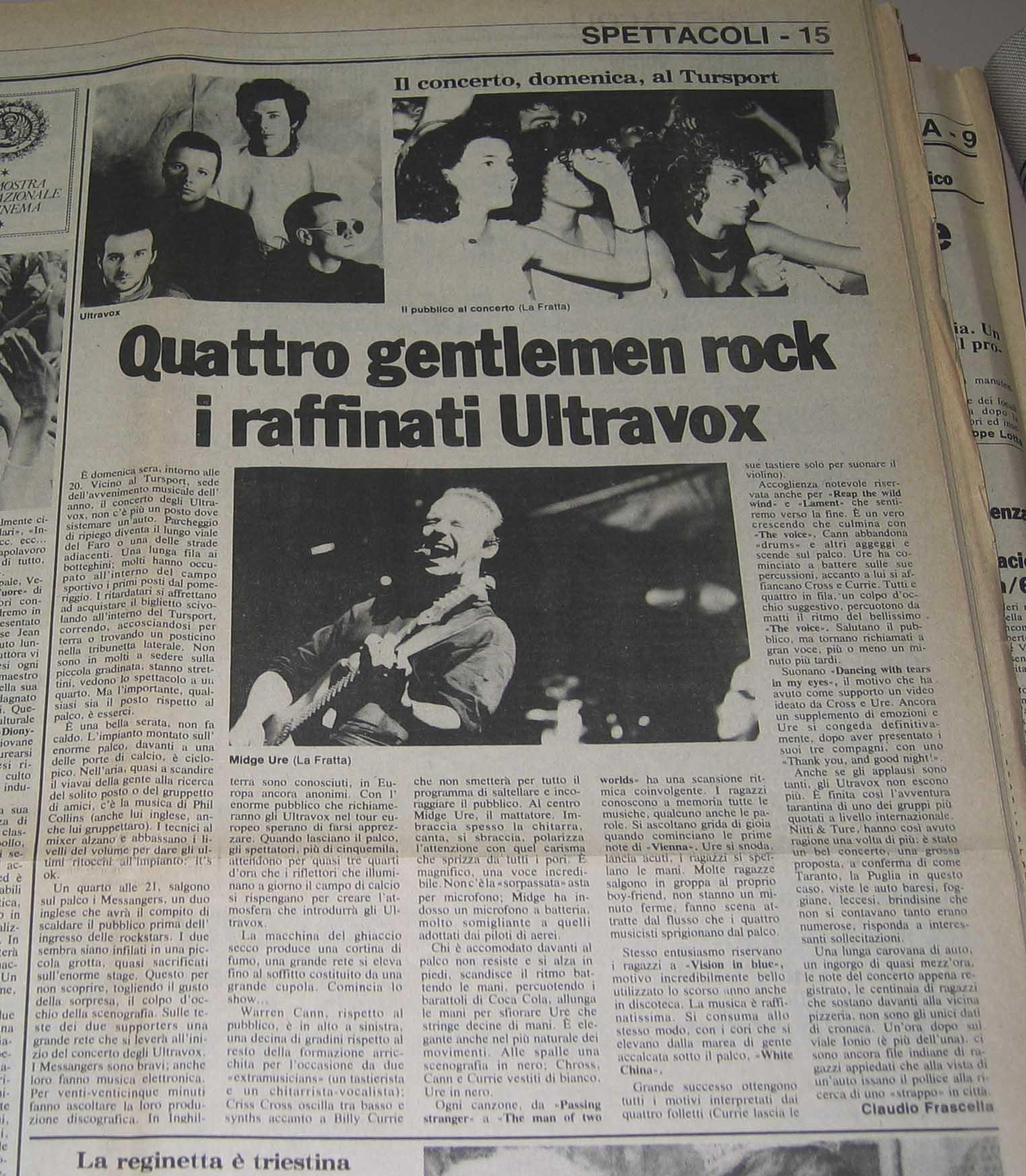 04.09.1984. Quattro gentleman rock i raffinati Ultravox