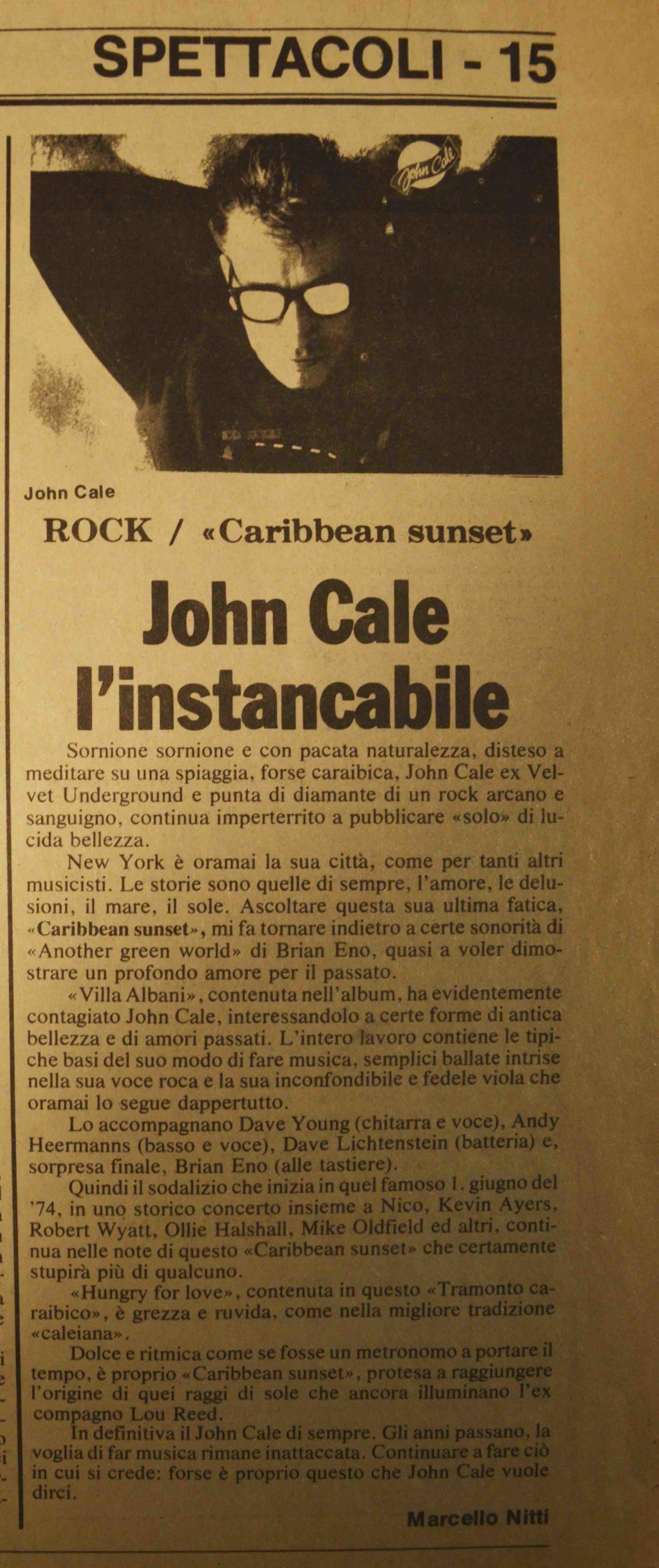 10.10.1984 John Cale l'instancabile
